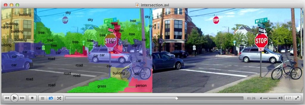 Researchers are working to enable smartphones and other mobile devices to understand and immediately identify objects in a camera's field of view, overlaying lines of text that describe items in the environment. Here, a street scene is labeled by the prototype, running up to 120 times faster than a conventional cell-phone processor. (Purdue University image/e-Lab)